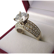 SALE!  Dazzling 14K Gold Cocktail Ring With CZ Solataire, Size 7, 5.4 Grams