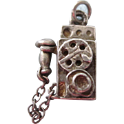 Vintage Sterling Mechanical 3-D Charm, Old Fashioned Wall Phone