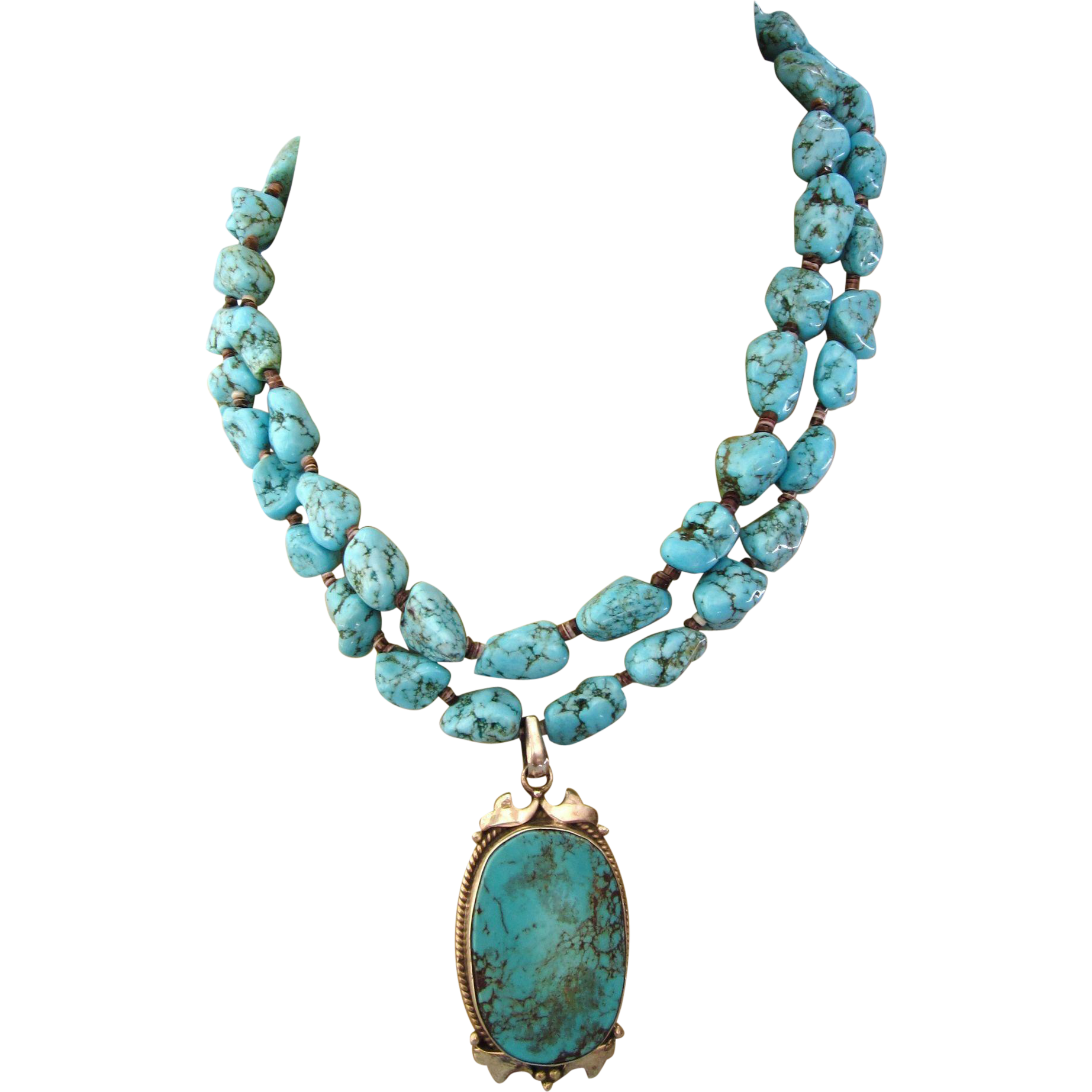 Fabulous Turquoise Necklace With Sterling And Turquoise