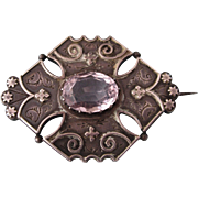 SALE!  Antique Victorian Aesthetic Sterling and Pale Amethyst Gemstone 1883-4 Birmingham Brooch