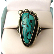 Signed Vintage Sterling and Turquoise Navajo Foot Ring, Size 4-3/4