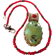 Vintage Huge Sterling, Turquoise and Coral Pendant on Red Bead, Sterling and Garnet Chain