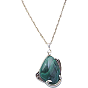 "Vintage Navajo Sterling and Malachite HUGE Pendant With Sterling 22"" Chain, 60.9 Grams!"