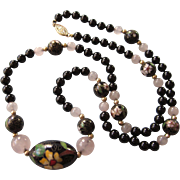 "FINAL CLEARANCE   Vintage Floral Cloisonne, Black Onyx and Rose Quartz 24"" Necklace"