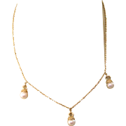 "SALE! Lovely Vintage 585 14K Yellow Gold 17"" Necklace With Cultured Pearl Drops, 7.3 Grams"