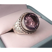 Exceptional Sterling and 5 Carat Amethyst Gemstone Ring, Size 7-3/8