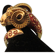 Exquisite 18K 750 Yellow Gold and Guilloche Enamel Wrap Ram's Head Ring, Size 7