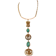 Dramatic Vintage Asian Inspired Long Y Necklace