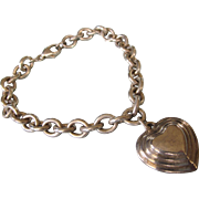 Chunky Sterling Link Bracelet With Sterling Heart Charm, 27.6 Grams