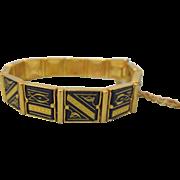 Vintage Geometric Fish Design Damascene Link Bracelet