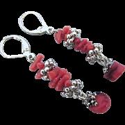 Vibrant Coral Lever Back Pierced Dangle Silvertone Earrings