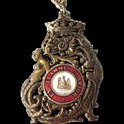 Mermaid Necklace - Vintage Mermaid Order of the Phoenix Ex Flammis Clarior Bronzetone and Enamel Pendant Necklace