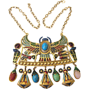 Dramatic Egyptian Revival Vintage Bold Necklace, Enamel and Dangles