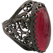 Vintage Ornate Sterling Silver Ring With Large Red Lucite Stone, Size 6-1/2