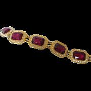 "Dazzling Vintage Red and Clear Rhinestone 7-1/4"" Goldtone Bracelet"