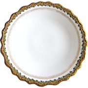 "Antique Blakeman & Henderson Limoges France 12-1/8"" Charger Platter, White With Leaf and Gold Border, Early 1900's"