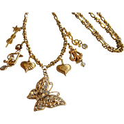 """One of a Kind Repurposed Kirks Folly 30"""" Goldtone Necklace, Music Theme"""
