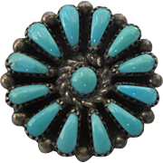 Signed Vintage Zuni Sterling and Turquoise Petit Point Design Single Pierced Earring