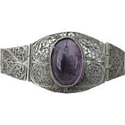 "Fabulous Vintage Sterling and Amethyst Filigree 7-1/2"" Bracelet"