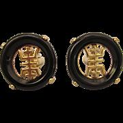 Elegant Asian Design Unisex Cufflinks, Goldtone with Black