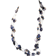 """Blue Blister Freshwater Pearl Bead 116"""" Long Rope Necklace on Silver Metallic Cord"""