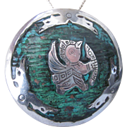 Vintage Sterling and Enamel Aztec Mayan Design Large Pendant Brooch