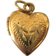 Vintage 14K Yellow Gold Heart Locket Charm or Small Pendant
