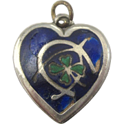 Victorian Sterling & Enamel Good Luck Puffy Heart Charm - Four Leaf Clover, Wishbone, Horseshoe