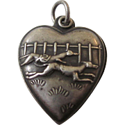Vintage Sterling Puffy Repousse Heart Charm, Greyhound Dog Race