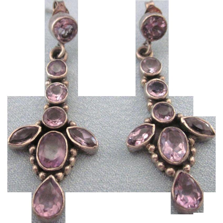 lovely sterling silver amethyst gemstone drop pierced