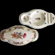 Vintage Schumann Bavarian Floral Porcelain Covered Vanity Box