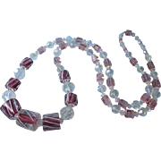 """Spectacular Vintage 38"""" Cramberry, Pink and Clear Bold Crystal Bead Rope Necklace"""