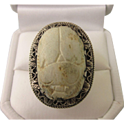 Vintage Sterling Silver Large Scarab Faience Adjustable Ring