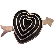 FINAL CLEARANCE   Bold Sterling Silver Heart and Arrow Brooch, 24.6 Grams!