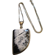 """Sophisticated Sterling Gemstone Asymmetric Pendant With 18"""" Sterling Chain"""