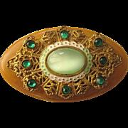 Unusual Vintage Bakelite Embellished Oval Brooch