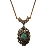 Vintage Czech Lavalier Necklace With Peking Glass Cabochon