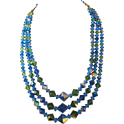 Glorious Blue and Green Aurora Borealis Crystal Three Strand Necklace