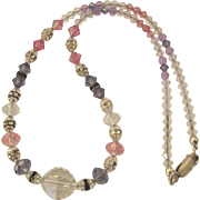 "Heavenly Pastel Crystal, Rhinestone Rondelle 16"" Necklace With Sterling Silver Clasp"