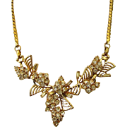 Vintage Rhinestone Goldtone Bows Necklace