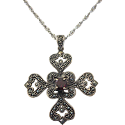 Sterling Silver, Garnet and Marcasite Hearts Pendant Necklace