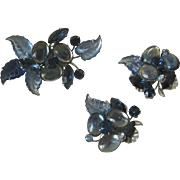 Vintage Jelly Belly & Fruit Salad Blue Large Brooch and Clip Back Earring Set - Demi Parure
