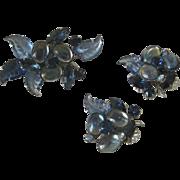 Vintage Jelly Belly & Fruit Salad Blue Large Brooch and Clip Back Earring Set - Demi Parure