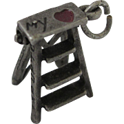 Vintage Sterling Enamel 3-D Mechanical Ladder - My Heart - Charm - Red Tag Sale Item