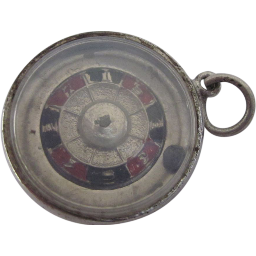 vintage sterling roulette wheel 3 d mechanical charm from. Black Bedroom Furniture Sets. Home Design Ideas