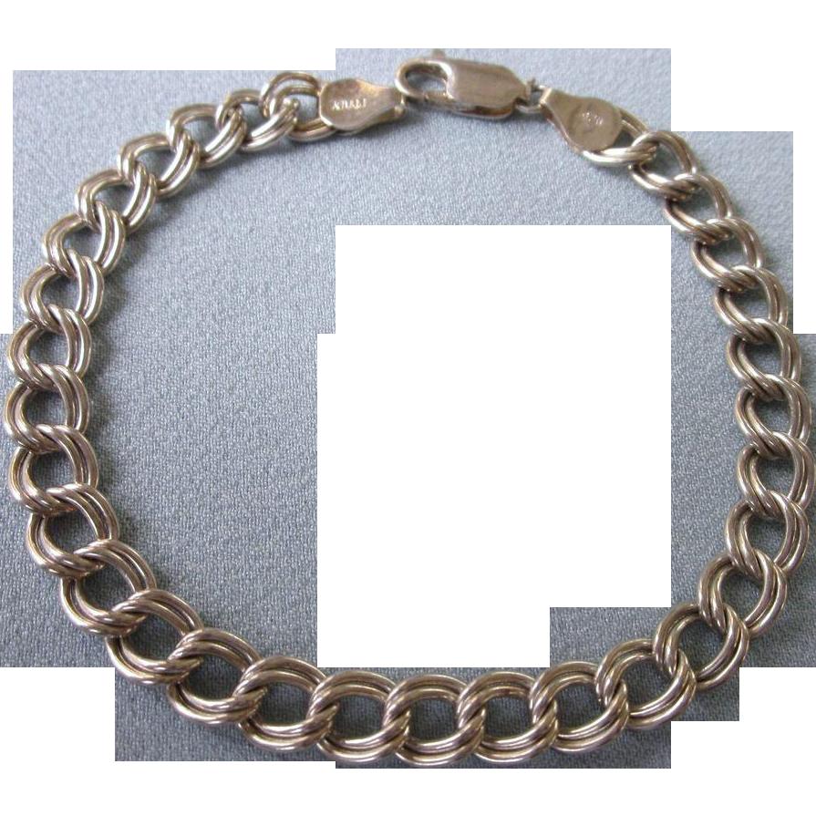 """Italian Link Charm Bracelet: Vintage Italian Sterling Silver Double Link 7-7/8"""" Starter"""