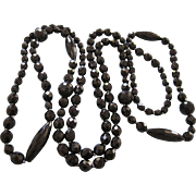 """Stunning 52"""" Black Glass Flapper Rope Necklace"""