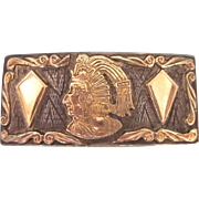 Exceptional Signed Gold Over Sterling Belt Buckle, Mexico, 29.8 Grams