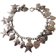 1960's & 1970's Sorority Charm Bracelet, Sterling Silver Bracelet With Silverplate Sigma Phi Charms