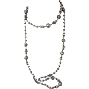"""Vintage Gray Faux Pearl and Rhinestone Rondelle 48"""" Rope Necklace"""